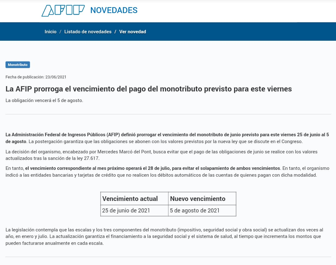 Comunicado Oficial AFIP